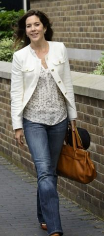 Zara OFF White Ivory Tweed Boucle Military Jacket With Gold Buttons as seen on Crown Princess Mary of Denmark.