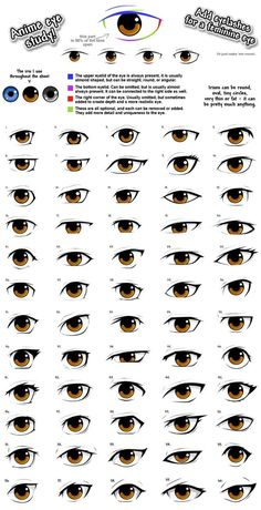 Practicing different anime eye styles. So here's 60 of them. Do note they are not in different art styles, but in different shapes instead. It's important to experiment with the eye shape, than to ...