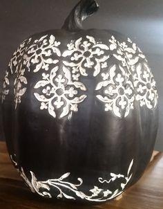 Black & White Carved Pumpkin