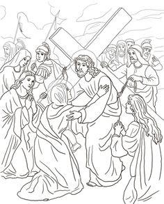 Quarta stazione - Gesù incontra sua Madre Disegno da colorare