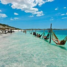 Jericoacoara Beach paradise in Ceara state, Brazil. Hammocks, beach and sunshine? This is my version of PARADISE. Places Around The World, Oh The Places You'll Go, Places To Travel, Places To Visit, Around The Worlds, Travel Destinations, Dream Vacations, Vacation Spots, Beach Paradise