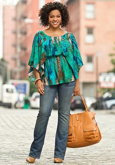 ea9fe59a54b6f feather print top   belted jean Cato Fashion Plus-size ~ love that color top !