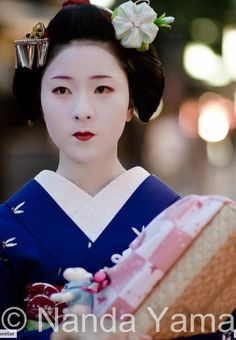 A popular choice these days are morning glories.Especially with senior Maiko These kanzashi come in many colors, but light pink and turquoise are the most common, whit purple also popular among the more senior ranks. Maiko Makino
