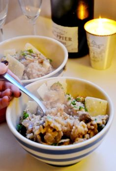 {garlic mushroom cheat's risotto} quick fry, a stir + right into the oven! no stove-top stirring for 30 minutes!