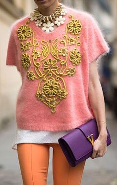 """There is SOOOO much going on in this Spring 2013 Paris Fashion Week street style photo: statement necklace, YSL """"IT"""" clutch, baroque, colorful pants. But she's making it WORK! Mode Chic, Mode Style, Style Me, Fashion Details, Love Fashion, High Fashion, Fashion Design, Paris Fashion, Street Fashion"""