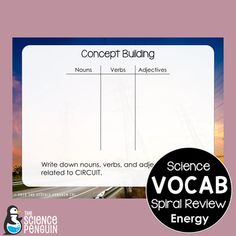 Energy Spiral Vocabulary Review from The Science Penguin -My goal is to keep things light and fun, allowing students to work on their vocabulary in a variety of ways in a low-stress environment. JUST 5 MINUTES a day can keep new words fresh in students' minds. No printing. No worksheets. Just talking about words.