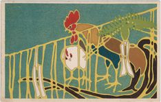 New Year's Card: Roosters and New Year's Decoration | Museum of Fine Arts, Boston