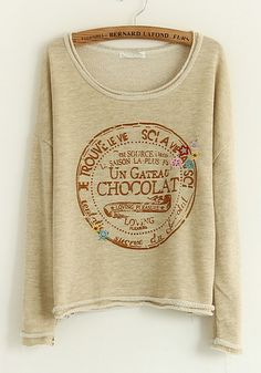 Beige Monogram Collarless Long Sleeve Loose Cotton T-Shirt