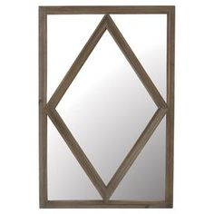 Acacia wood wall mirror with diamond overlay detail.  Product: MirrorConstruction Material: AcaciaColor: BrownDimensions: 43.25 H x 27.5 W x 1.5