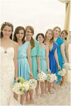Bridesmaid Dresses ~ mismatched blues