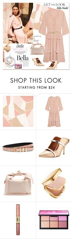 """Get the look: Bella Hadid"" by ellie366 ❤ liked on Polyvore featuring Hobbs, Iris & Ink, Sandro, Malone Souliers, Tiffany & Co., Simone Rocha, Dolce&Gabbana, tarte, NARS Cosmetics and Pink"
