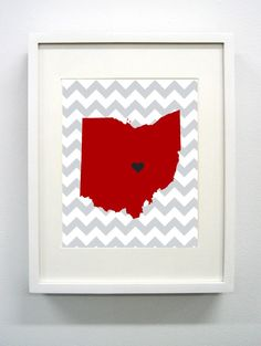 Granville Ohio State Giclée Print  8x10  Red and by PaintedPost, $15.00 #paintedpoststudio - Denison University - Big Red- What a great and memorable gift for graduation, sorority, hostess, and best friend gifts! Also perfect for dorm decor! :)