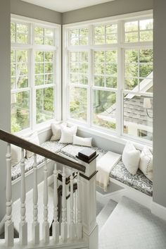Traditional Staircase with Painted wood stair railing, Window seat, 2915 primed wood baluster, Standard height, Paint 1