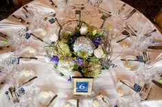cornflower blue and peach centre pieces - Google Search