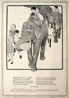 1905 Ivory Soap Ad ~ Elephants Carry Large Soap Bars