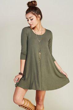Long Sleeve Olive Green Swing Dress