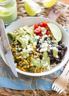 Recipe: Burrito Bowl with Roasted Corn and Poblano Peppers — Vegetarian Recipes from The Kitchn | The Kitchn