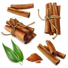 Buy Realistic Cinnamon Sticks Set by macrovector on GraphicRiver. Set of realistic cinnamon sticks with spicy powder, green leaves isolated on white background vector illustration