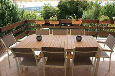 Almeria : Table de jardin en bois extensible 120-180cm, 2 fauteuils ...