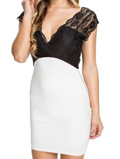 5ce04e4c5a7d Lace Splicing Plunging Neck Bodycon Dress. Beautiful DressesSexy ...