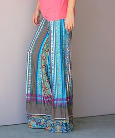 Look what I found on #zulily! Aquamarine Paisley Stripe Palazzo Pants #zulilyfinds