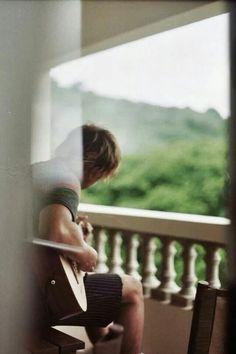 Ridge playing on his balcony. Maybe Someday