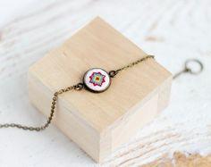 Tiny charm bracelet  embroidered bracelet  ethnic by skrynka, $26.00