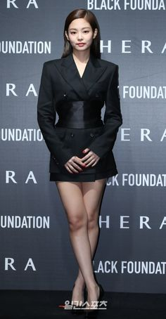 Jennie Looks Stunning at HERA Black Foundation Launch Event Kim Jennie, Blackpink Fashion, Fashion Outfits, School Wear, Blackpink Jisoo, Chanel, Looking Stunning, South Korean Girls, Celebrities