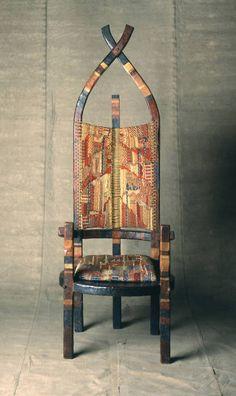 "Marcel Breuer (1902-1981) with textile by Gunta Stölzl (1897-1983).""African"" or ""Romantic"" Chair, 1921"