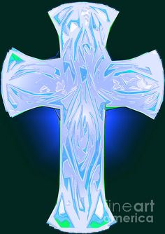 Shades Of Blue And Green Abstract Cross by Ray B and Adri Minding My Visions www.mindingmyvisions.com