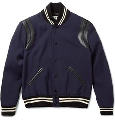 Saint Laurent - Leather-Trimmed Wool Varsity Jacket