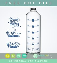 (Free Cut File) Water Bottle SVG DXF One thing you might already know about me is that I am a huge tea drinker! I start my mornings with a nice, hot, comforting cup of Lipton tea with sugar and milk. So yummy! And I love having a neat… - Fresh Drinks Cricut Craft Room, Cricut Vinyl, Cricut Air, Water Bottle Tracker, Shilouette Cameo, Cricut Tutorials, Cricut Ideas, Bottle Cutting, Water Bottle Design