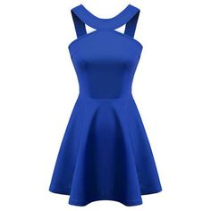 Chicnova Fashion Solid Halter Neck Cutout Dress