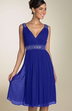 blue crinkle chiffon v neck bridesmaid dresses