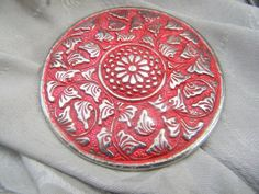 Vintage Large Red Brass Pocket Mirror for Travel or Vanity | RosesHeirlooms - Collectibles on ArtFire