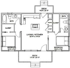 Plan Tiny House, Guest House Plans, 2 Bedroom House Plans, Cabin Plans, Guest Cottage Plans, 2 Bedroom House Design, Two Bedroom Floor Plan, Tiny House 2 Bedroom, Retirement House Plans