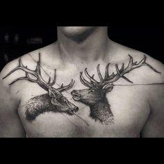 ● Tattoo by @fredcovil ●  #tattoo #tattooartist #tattoos #dotwork #dotworktattoo #chestpiece #animaltattoo #chesttattoo #stagtattoo #abstract #uniquetattoo #darktattoos #obscure #blacktattoos #blackwork #blackworktattoos #linework #linetattoos #obscure #darkart #art #artwork #dark #love #art #instadaily #instagood #instatattoos #instafollow