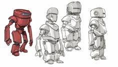 Blue Chevrons: Red Tin Tales robot sketches