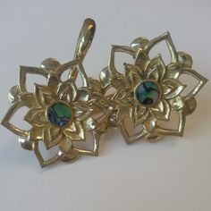 Lotus Weights in brass and abalone inlay