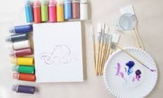 Set up your canvas and supplies. There's no right or wrong, but you'll make your life and painting much easier if you set up your workspace in advance. Have your paint brushes, palette knives, water and any other painting supplies you think you'll need at the ready.