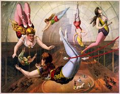 """Vintage Circus Poster """"Lady Acrobats"""" Vintage French Circus Print ..."""