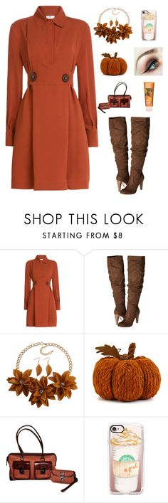 """Pumpkin spice 3"" by im-karla-with-a-k ❤ liked on Polyvore featuring Fendi, Carlos by Carlos Santana, Dooney & Bourke, Casetify and Lime Crime"