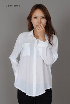 4aed00c770fe2 Annakastle New Womens Semi-Sheer Chiffon Button-Down Pocket Utility Shirt  Blouse
