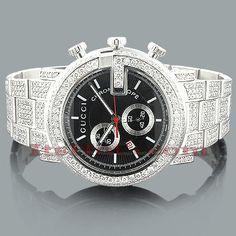 Genuine Mens Gucci Chrono Diamond Watch 15 ct