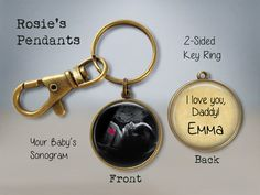 """Ultrasound Sonogram Baby Reveal """"Appearing in"""" Key Ring - Daddy to Be - Baby Sonogram Key Ring - Gift for Father to Be - Rainbow Baby Unique Gifts For Dad, Gifts For Father, Gifts For Him, Map Coordinates, Baby Sonogram, Vintage Compass, Latitude Longitude, Compass Necklace, Pendant Necklace"""