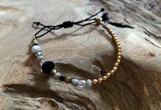 Armbänder - Perlen Armband schwarz grau gold - ein Designerstück von saniLou bei DaWanda