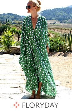 Polka Dot V-Neckline Long Sleeve Maxi Shift Dress, maxi dress, polka dot dress, green dresses, fashion, new arrival.
