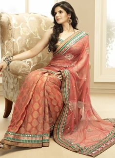 Burnt Coral with gold and teal saree