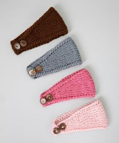 Another great find on #zulily! Pink & Brown Crocheted Headband Set #zulilyfinds