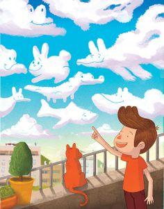 O Menino Que Imaginava   Estava com o gato no peitoril, quando teve a ideia: Imaginar outros bichos para seu amiguinho... Tão triste por sentir-se sozinho... Assim, foi criando nas nuvens que apareciam em sua frente, bichos para agradar todo tipo de gente! Fátima Abreu
